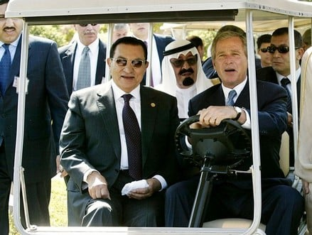 The Struggle for Self Determination in the Arab World: The Alliance between Arab Dictators and Global Capital  Mubarak,%20Bush%20and%20Abdullah