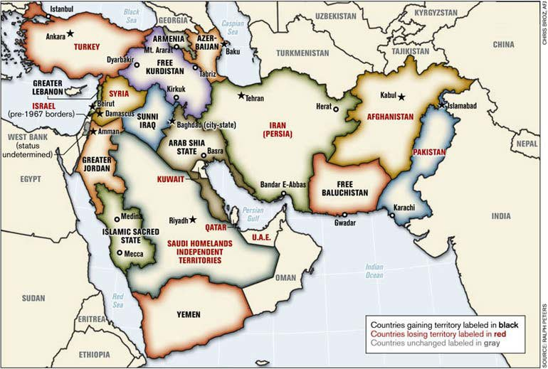 Note The Following Map Was Prepared By Lieutenant Colonel Ralph Peters It Was Published In The Armed Forces Journal In June 2006 Peters Is A Retired