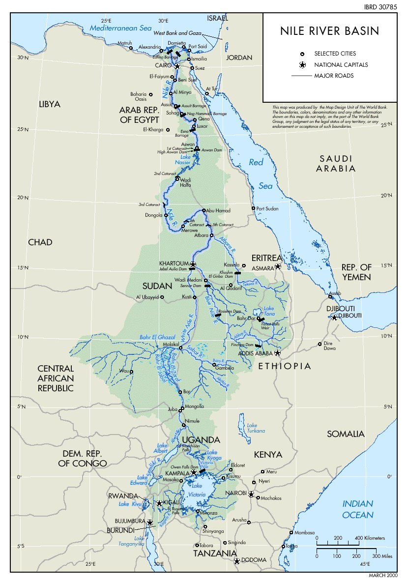 Nile river basin and declining water resources