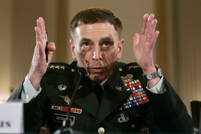 U.S. Army General Petraeus testifies about the war in Iraq during a hearing on Capitol Hill in Washington