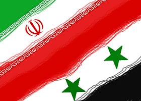 Iran and Syria flags combined