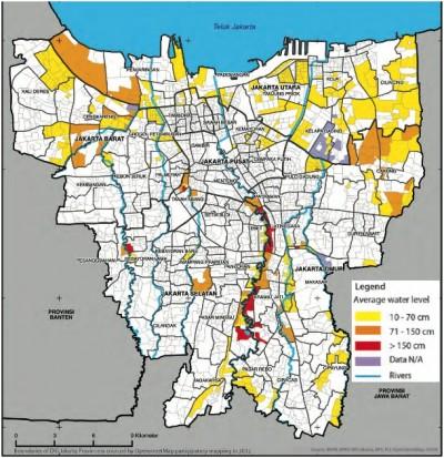 Jakarta inondation carte