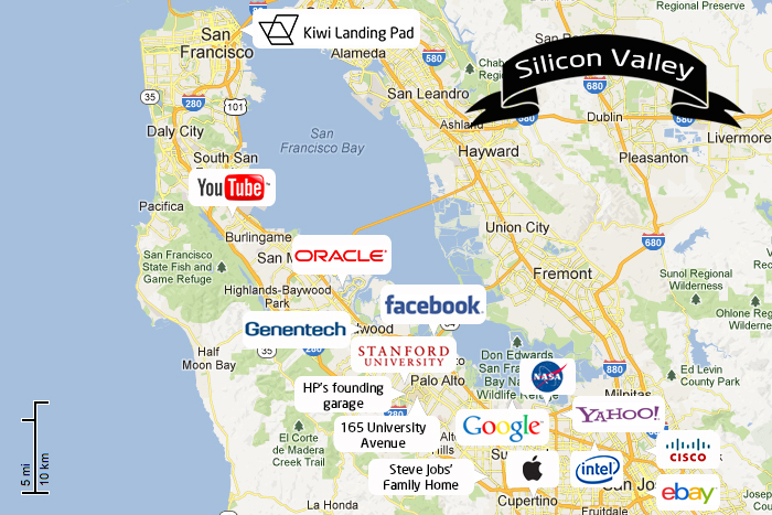 carte entreprises silicon valley