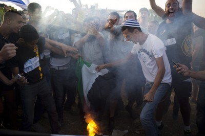 Anti Palestinian protest, Gush Etzion Junction, West Bank, 16.6.