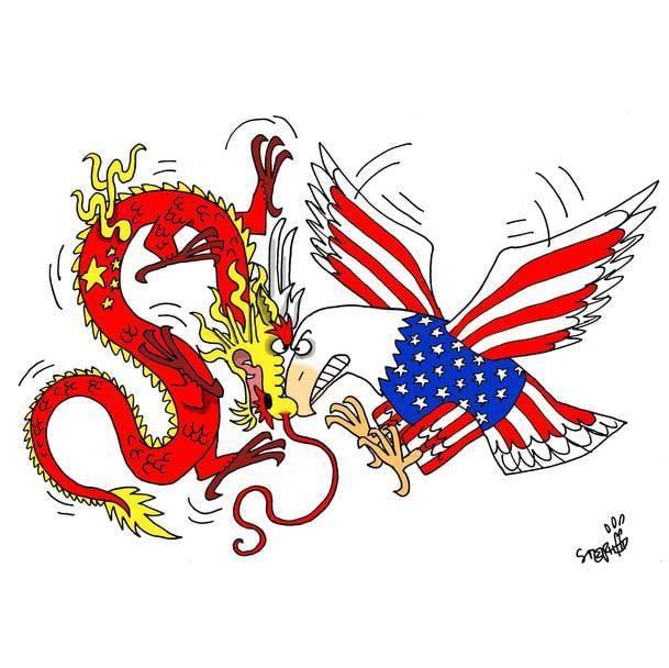 Image result for caricature china versus u.s.