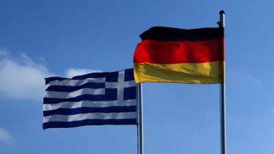 Fahnen von Deutschland und Griechenland