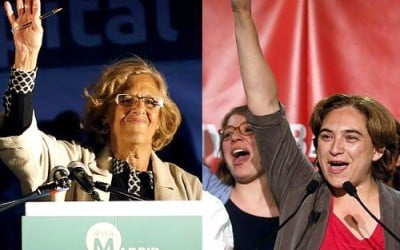 Manuela Carmena (Mayor of Madrid) and Ada Colau (Mayor of Barcelona).