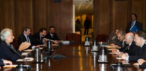 IMF director Christine Lagarde meets with Greek Finance Minister Evangelos Venizelos