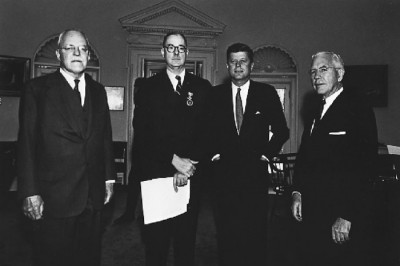 Left to right: Allen Dulles, Richard Bissell, President Kennedy, John McCone. April 1962. Photo credit: CIA.GOV