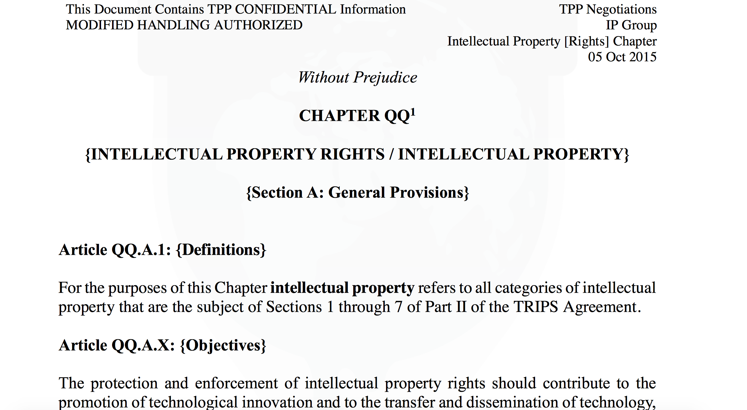 Secret Tpp Trade Agreement Leaked Full Text Of Intellectual