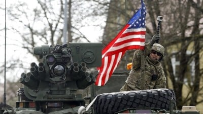"Soldiers of the U.S. Army 3rd squadron, 2nd Cavalry Regiment as the troops of the ""Dragoon Ride"" military exercise arrive at their home base at Rose Barracks in Vilseck April 1, 2015. 