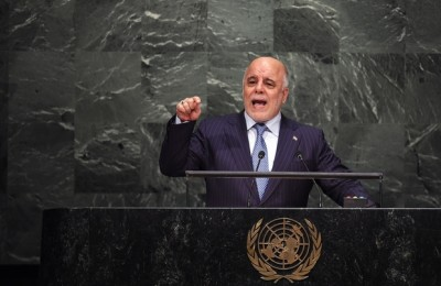 Iraq's Prime Minister Haider Al Abadi addresses the 70th Session of the United Nations General Assembly at the UN in New York on September 30, 2015. AFP PHOTO/JEWEL SAMAD / AFP / JEWEL SAMAD