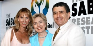 Hillary Clinton at Saban Research Institute with Cheryl and Haim Saban in 2003. Photo: Bob Riha Jr/WireImage