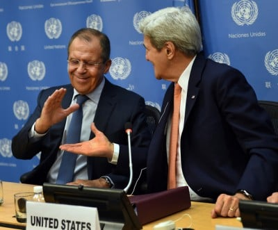 Russian Foreign Minister Sergey Lavrov (L) and US Secretary of State John Kerry shake hands after a news conference after a UN Security Council meeting on Syria at the United Nations in New York on 18 December, 2015 (AFP). - See more at: http://www.middleeasteye.net/columns/us-position-syria-tilts-favour-russian-intervention-1555341698#sthash.4vUnEjRW.dpuf