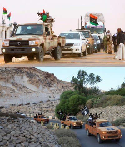 "Images: Libya's so-called freedom-fighting ""moderates"" literally just repainted their trucks after NATO's 2011 intervention, becoming ISIS' Libyan branch. The US now finds itself justifying yet another military intervention in Libya to fight the very terrorists it helped arm and put into power in 2011."