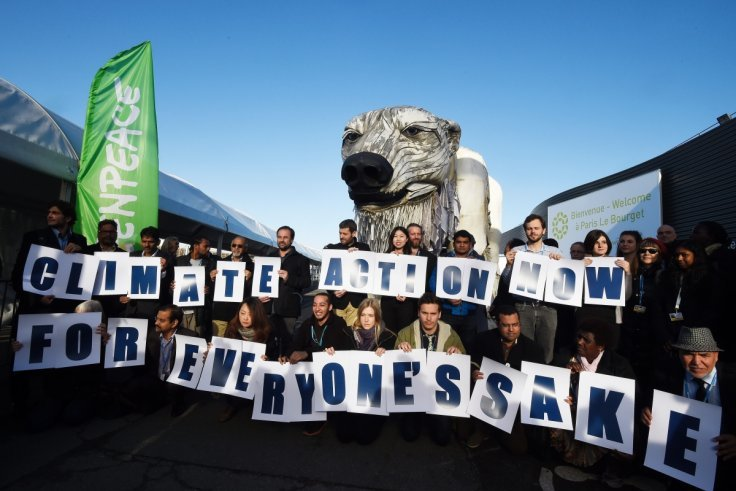 Greenpeace activists during a protest in Paris at the COP21 United Nations climate change conference in November.