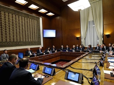 General view of U.N. Special Envoy for Syria de Mistura attending a meeting on Syria with representatives of the five permanent members of the Security Council at the United Nations European headquarters in Geneva, Switzerland
