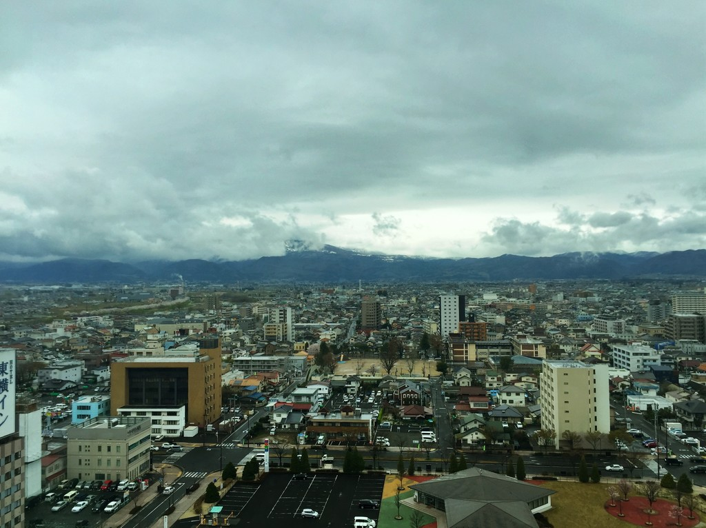 Clouds hang over Fukushima City (by author, 2015)