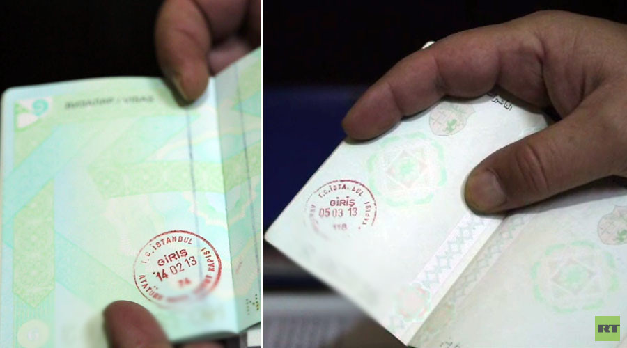 Passports belonging to Islamic State fighters bearing stamps from Istanbul, Turkey. / RT