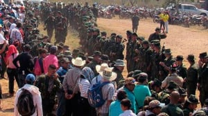 Ivan Marques and other negotiators address troops and the people in La Guajira province Photo courtesy FARC-EP