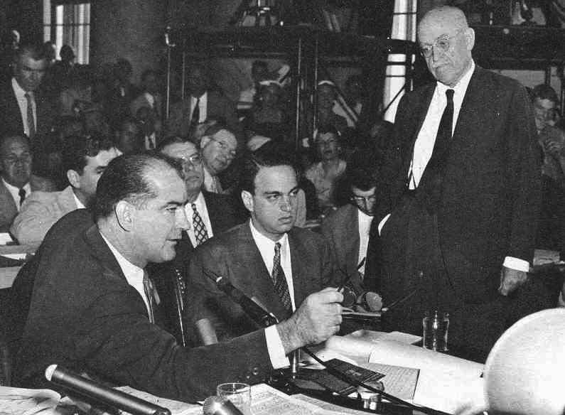 McCarthy in action as Flanders disapproves, 1954