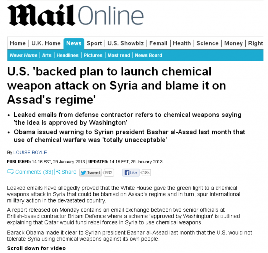 "Pentagon Trained Syria's Al Qaeda ""Rebels"" in the Use of Chemical Weapons"