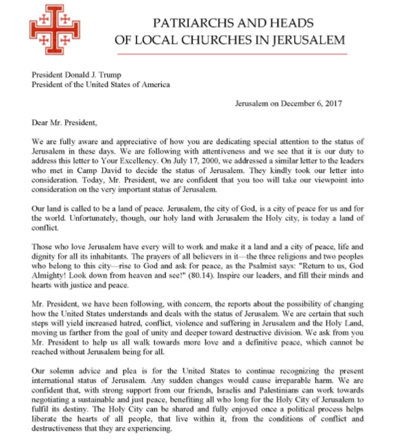 Christian community responds open letter to president trump from below is the open letter addressed to the us president provided by the heads and patriarchs of churches in jerusalem thecheapjerseys Images