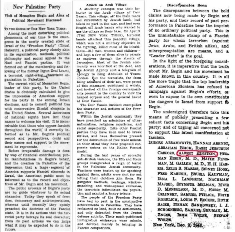 Albert Einsteins 1948 Letter To The New York Times Comparing