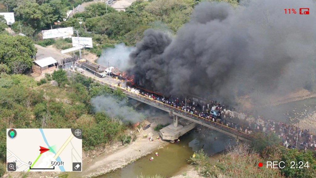 Guaidó-USAID Trucks Torched on Border