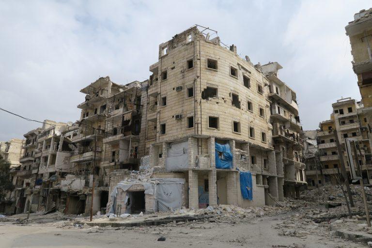 """Al Quds Hospital"" (ground floor of apartment building on the corner)  (photo credit Dr. Nabil Antaki)"