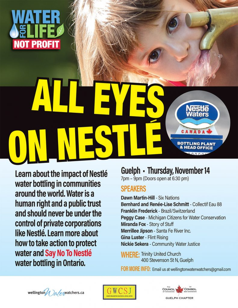 all eyes on nestle poster guelph 11 05 19 144ppi In: Nestlé and the Privatization of Water: A Tale of Many Cities | Our Santa Fe River, Inc. | Protecting the Santa Fe River in North Florida